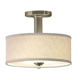 Valencia 12-in Fluorescent Semi-Flush Mount - Nickel, 4212-BN-LIN-I