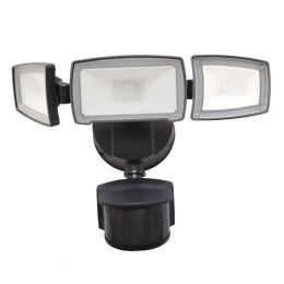 240-Degree 3-Head LED Motion-Activated Dusk to Dawn Security Flood Light - Bronze, SE1095-BP2-02LF0