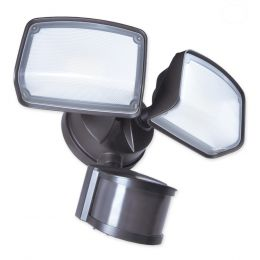 240-Degree 2-Head 2500 Lumen Dual Detection LED Motion-Activated Flood Light with Timer - Bronze, SE1292-BP2-02LF0