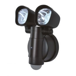 130-Degree 2-Head Round LED Motion-Activated Battery-Operated Security Flood Light - Bronze, SE1066-BP2-02LF0
