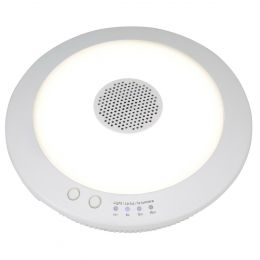 7-in LED Rechargeable Battery-Operated Bluetooth Speaker Strip Light - White