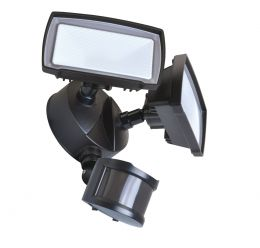180-Degree 2-Head LED Motion-Activated Direct Wire Security Flood Light - Bronze, SE1097-BP2-02LF0